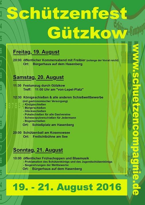 Ablaufplan Schützenfest 2016